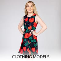 Clothing photography with a model.